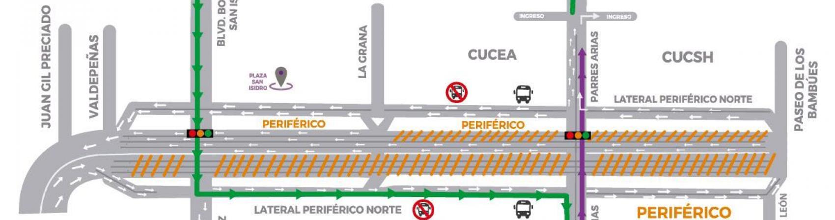 Mapa de la restricción vial periférico norte y viaducto belenes